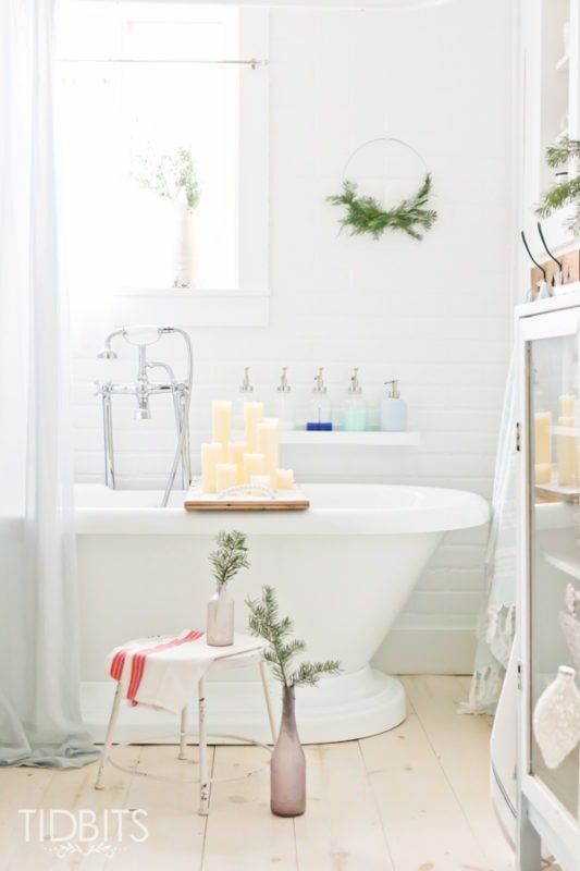 Holiday french farmhouse bathroom tidbits