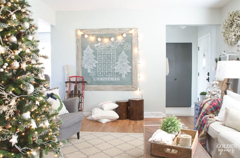 Golden Sycamore Christmas living room