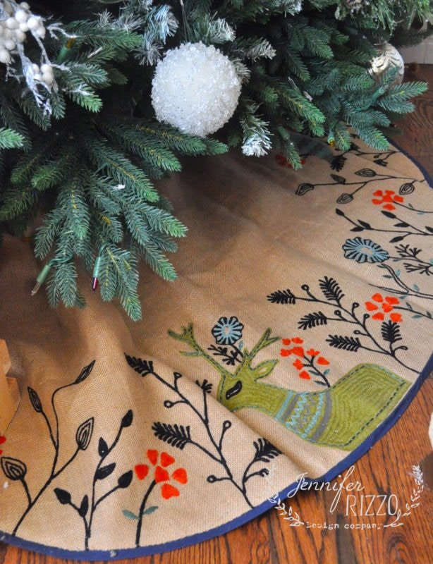 Hand embroideded tree skirt