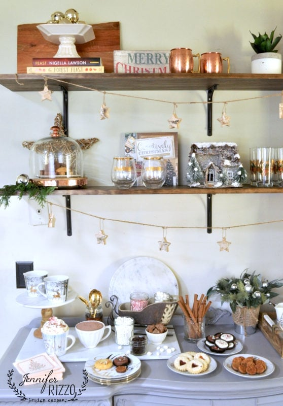 Open shelving in kitchen decorated for the holidays