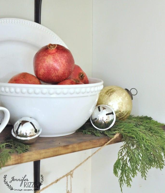 Holiday decor pomegranate in bowl