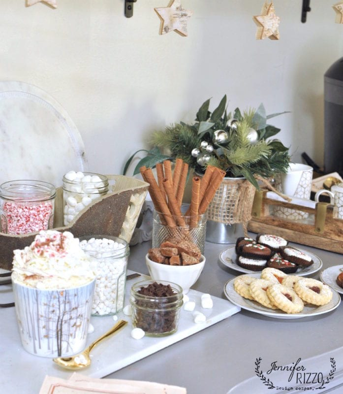 Cookie and hot Cocoa bar for holiday entertaining