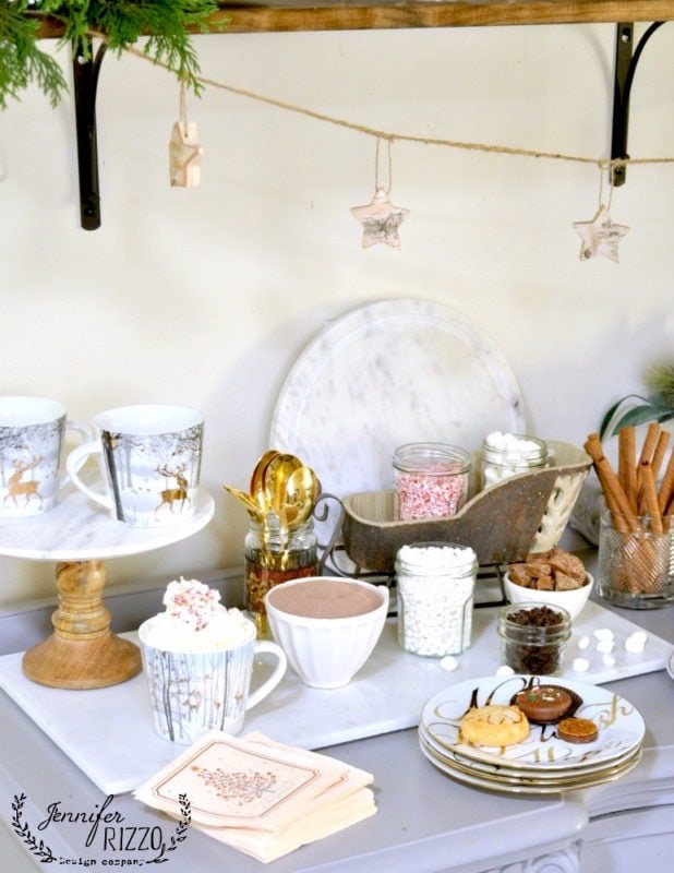 Cookie and hot cocoa bar for holiay entertaining