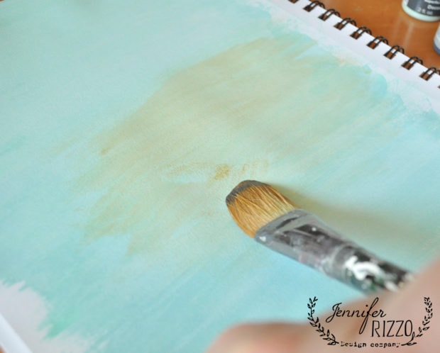 Bow to paint birch trees paint background with blue gray and yellow paint
