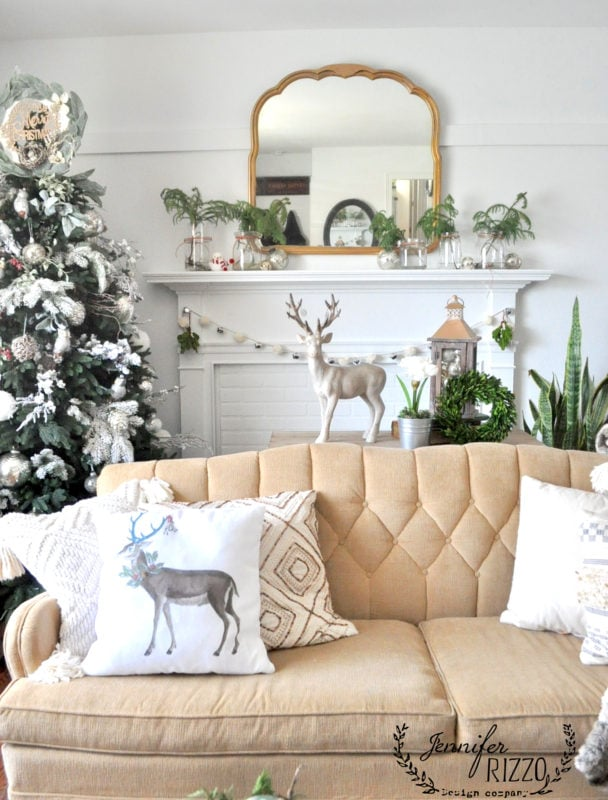 Living room with wintery decor