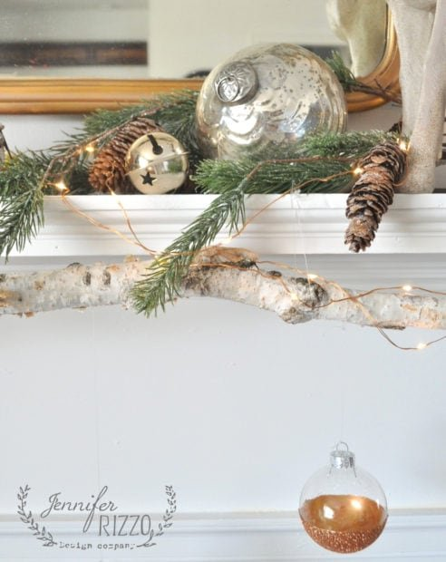 Mantel with birch branch modern rustic