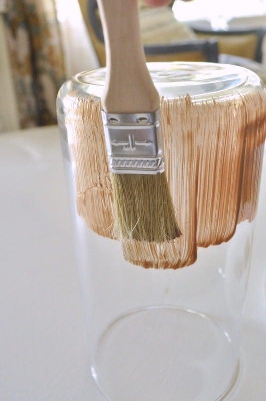 Metallic paint stripe vases