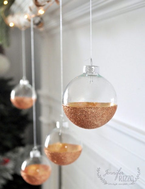 DIY modern glitter ornaments