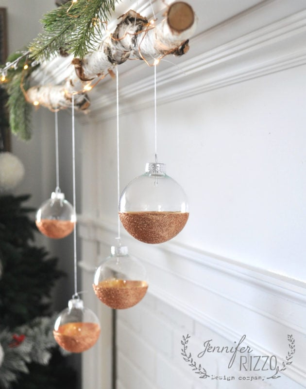 Modern rustic easy DIY glitter ornament