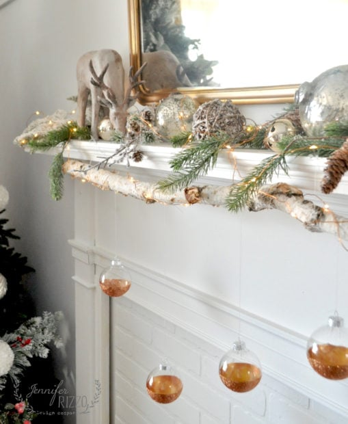Modern rustic mantel with easy DIY glitter ornaments