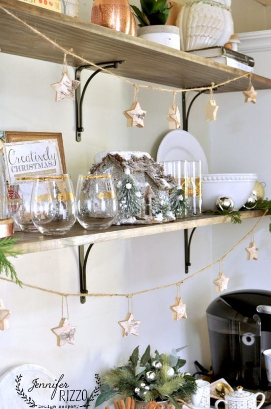 Open shelf holiday decorating