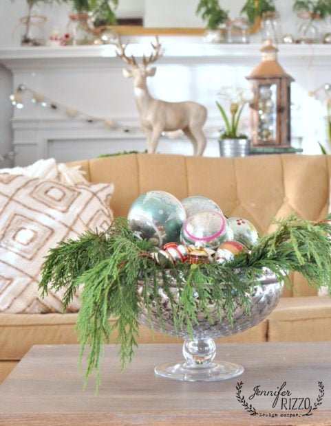Vintage ornaments in mercury glass bowl
