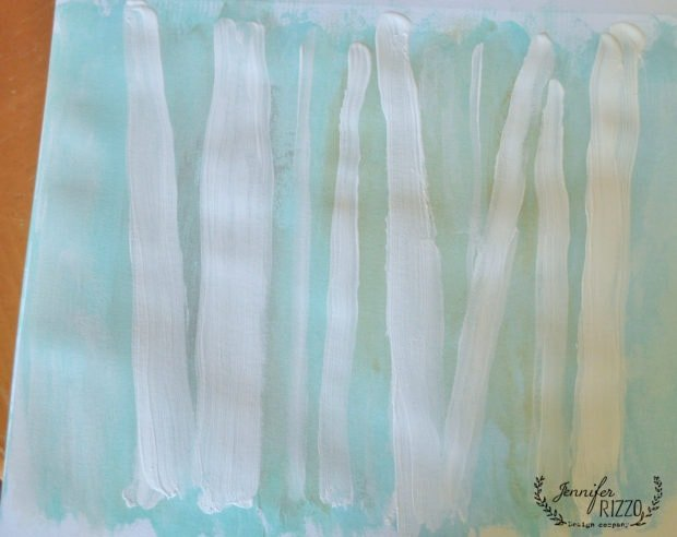 Paint lines in white paint in how to paint a birch tree