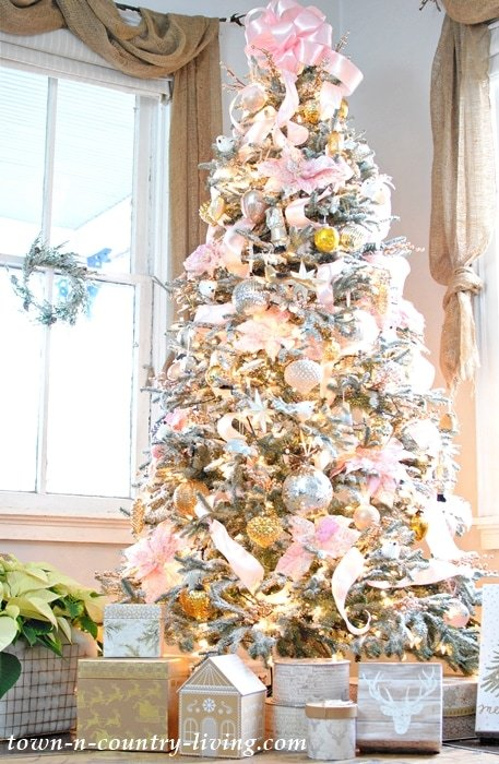 Pink Champagne tree Christmas Town and country living