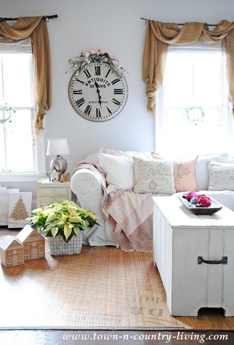 Pink and blush living room Christmas decor