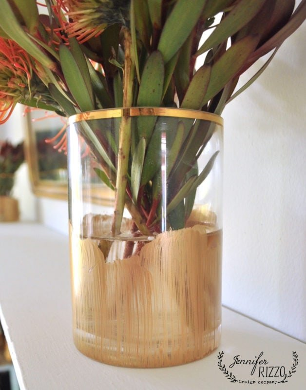 Pretty metallic and gold paint stripe vase
