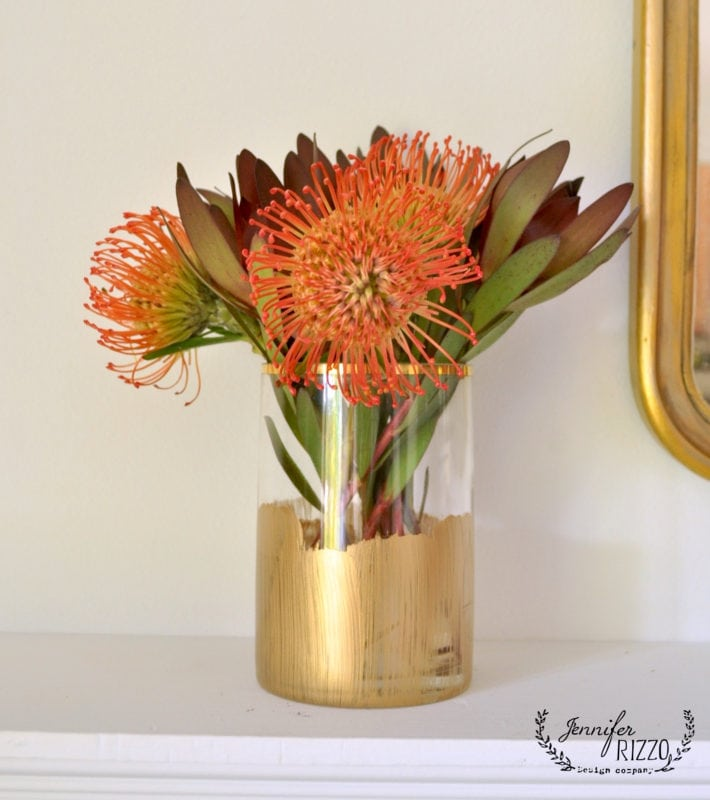 Protea in a DIY gold stripe metallic vase