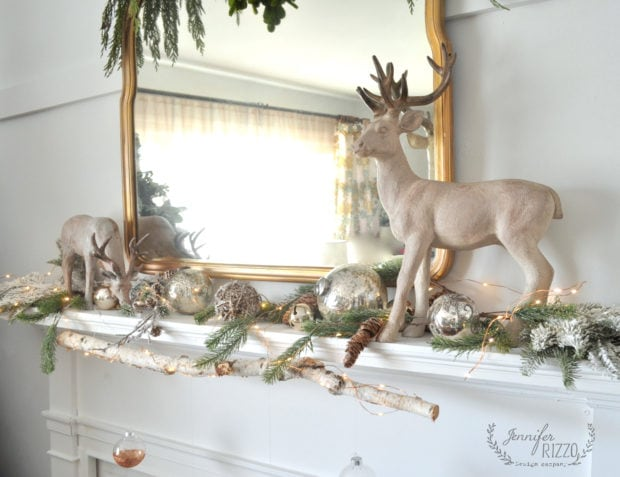 Reindeer and modern rustic mantel