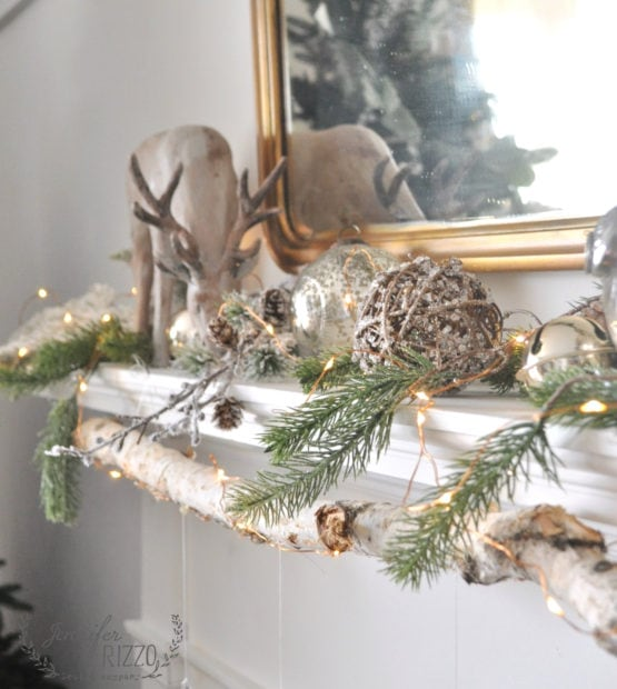 Rustic mocern mantel and easy DIT glitter ornaments