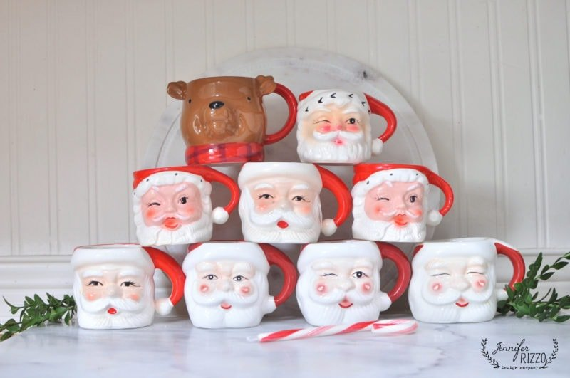 Stacked Santa mug collection