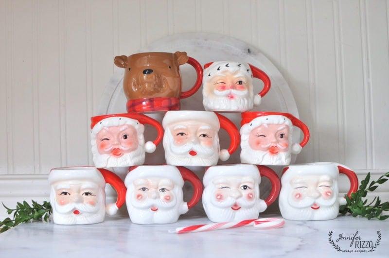 Stacked Santa mug collection