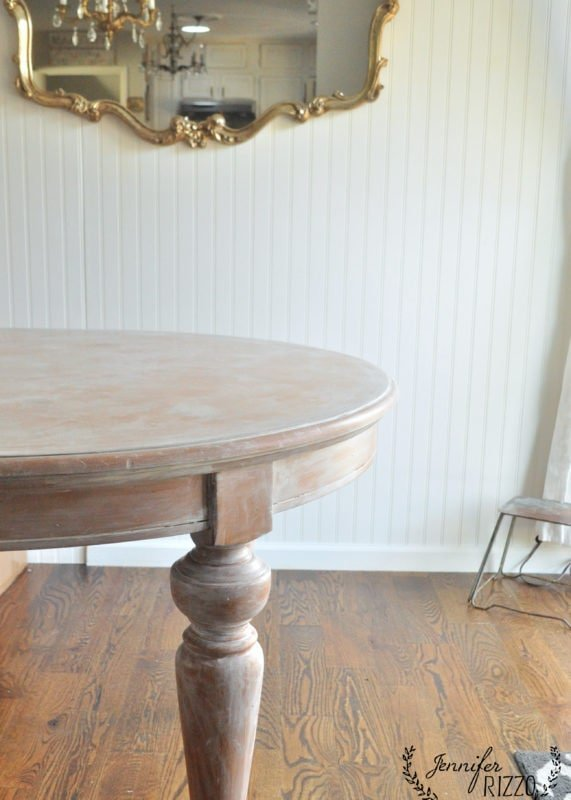 Table after DIY whitewash painting technique