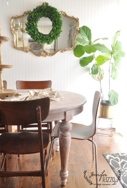 Use whitewash painting to update a orange toned wood table