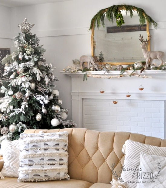 WInter tree with rustic modern faux fireplace mantel