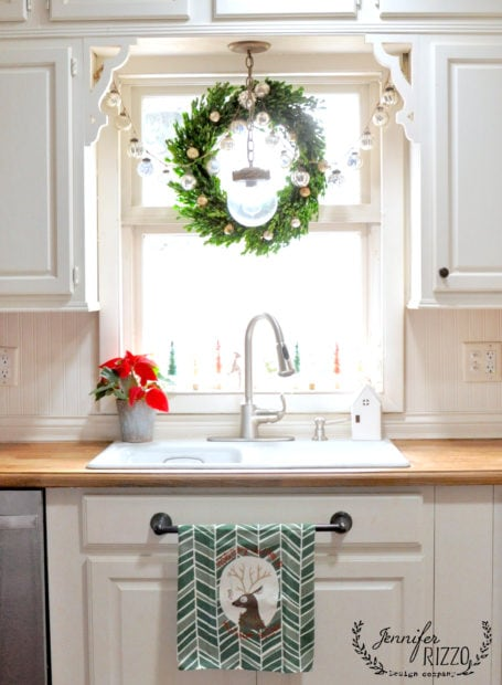 Boxwood wreath adn mercury glass ornaments