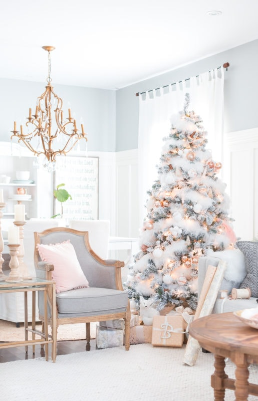 Craftberry bush tree with blush and copper accents with pretty flocking 2016 Holiday housewalk