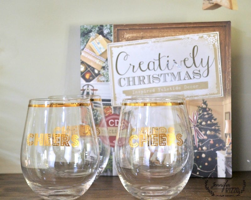 Fun stemless wine glasses and Creatively Christmas by Jennifer Rizzo