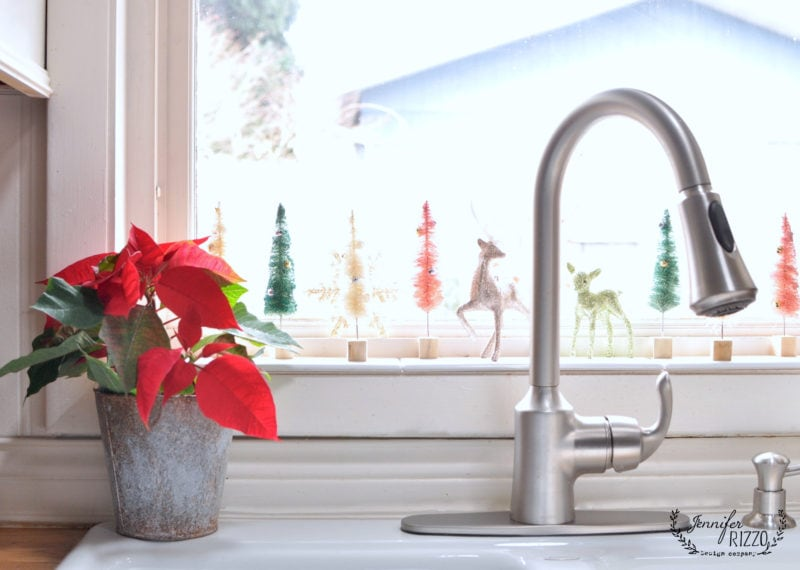Festive holiday sink display