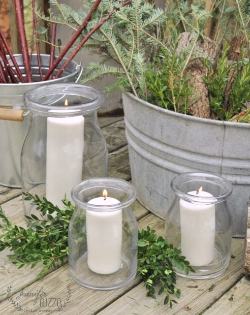 Candles in containers for winter decor