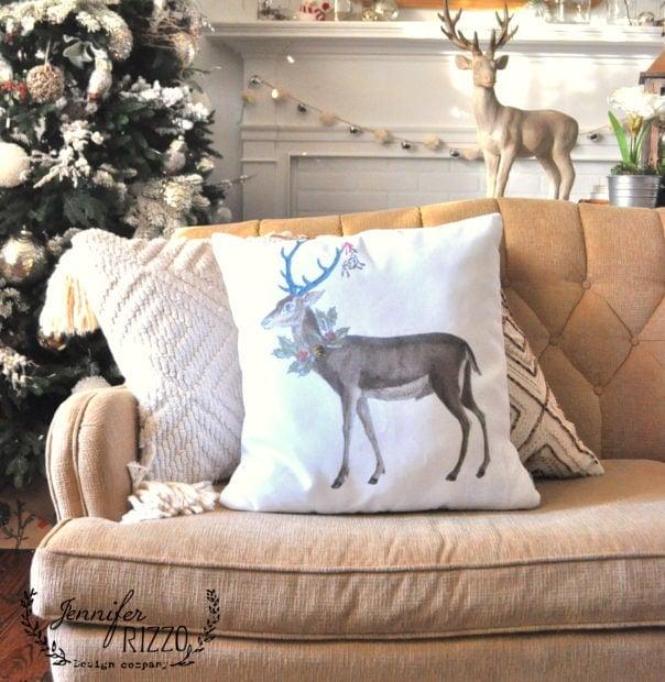 Christmas decor deer pillow by Jennifer Rizzo