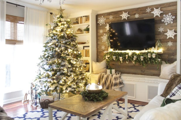 CHristmas living room wood wall Shades of blue