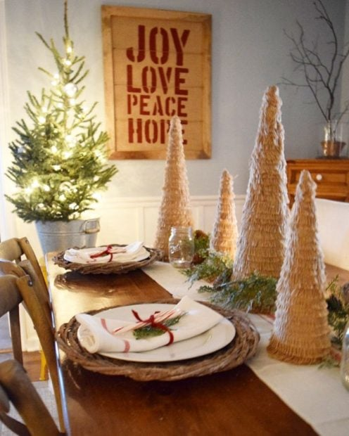 Christmas table decor cute trees