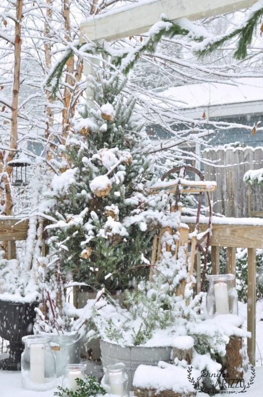 Winter Outdoor Decor Part - 26: Frehly Fallen Snow On Natural Outdoor Decor Holiday Outdoor
