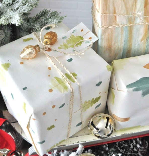 handpainted wrapping paper DIY gift wrap painting idea