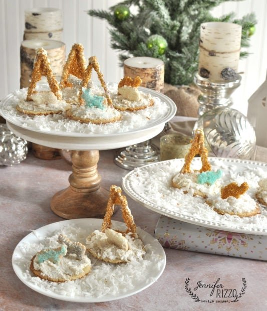 Fun animal crackers and sprinkles away in a manger cookies