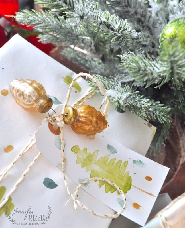 Matching tag and wrapping paper hand painted