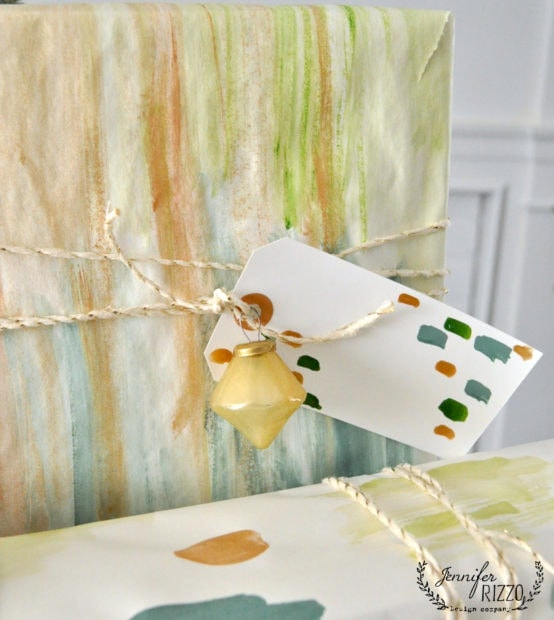 Ornament hanging from DIY handpainted paper