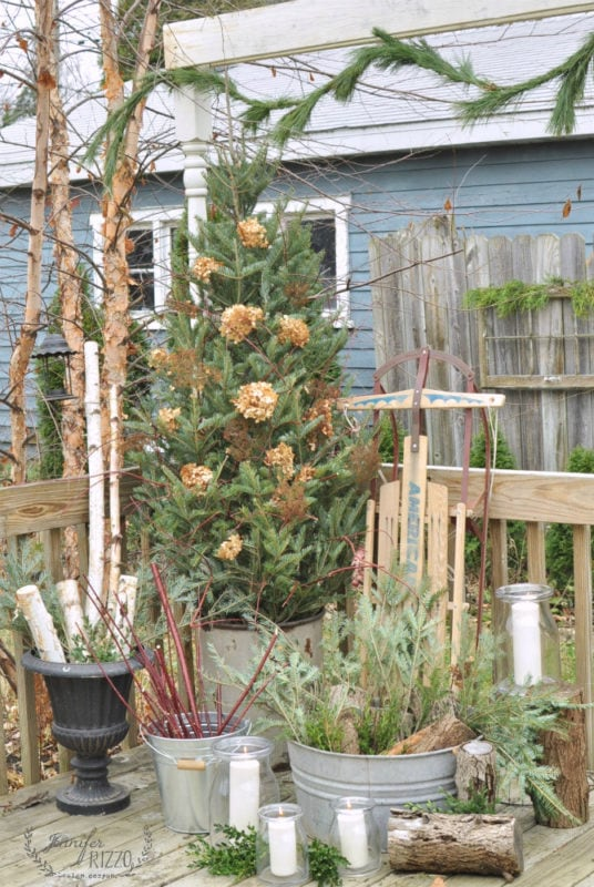 Outdoor tree on back decor decorating for winter