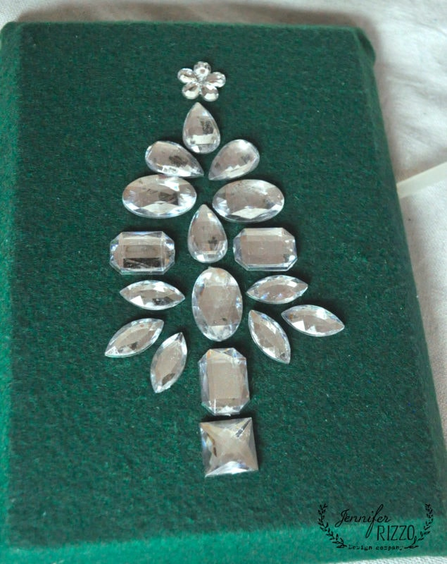 Place Rhinestones before gluing for your bejeweled Christmas tree
