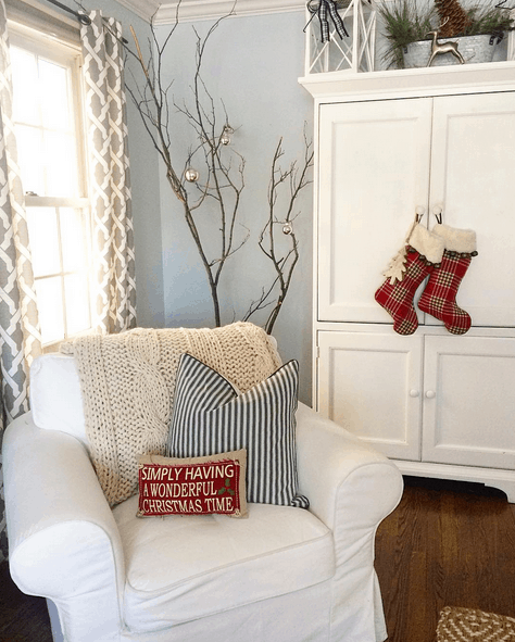 Prety cottage Christmas cute stockings on armoire