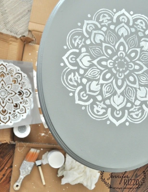 Small stenciled side table in gray and white painted furniture makeover