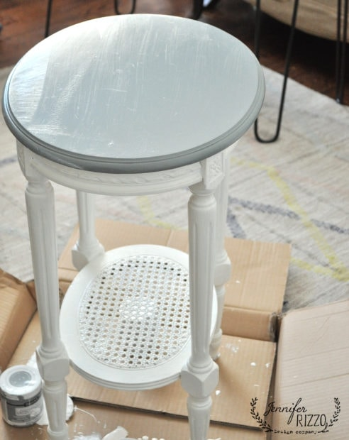 Smaller side table painted in gray paint