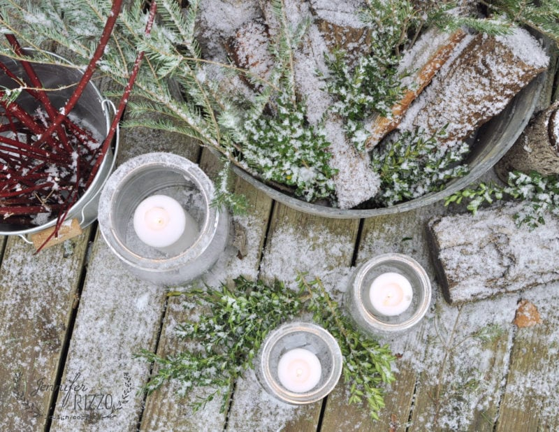 Winter holiday outdoor deck-orating
