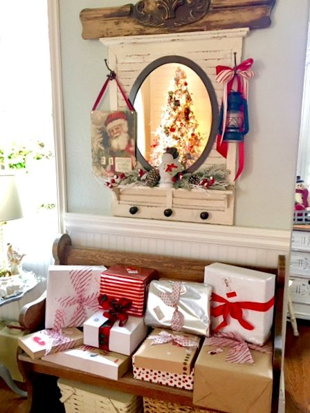 Vintage bench with Christmas presents
