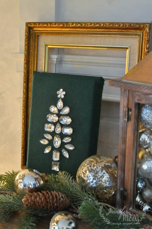 Vintage jewelry inspired bejeweled Christmas tree