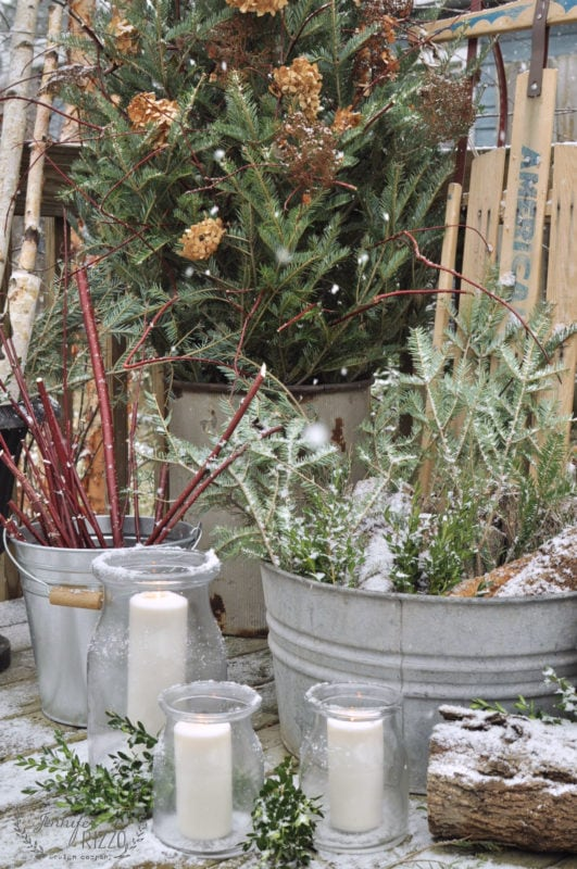 WInter sno and outdoor decor with natural items you find around your yard